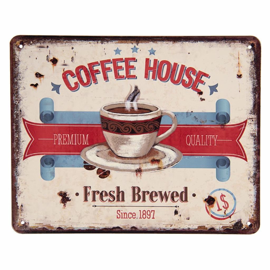 Produktové foto Clayre & Eef Retro plechová cedule Coffee House - 25*20 cm