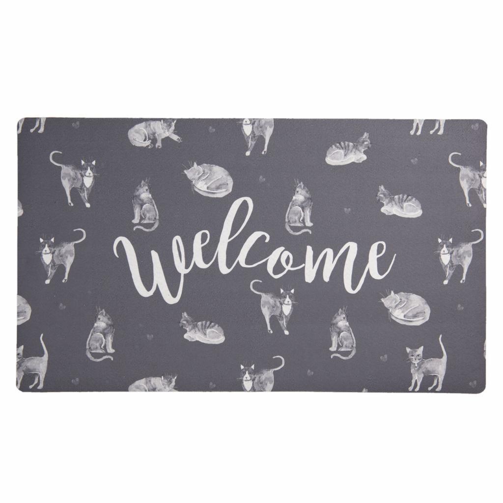Produktové foto Clayre & Eef Podlahová rohožka s kočky Welcome - 74*44*1 cm