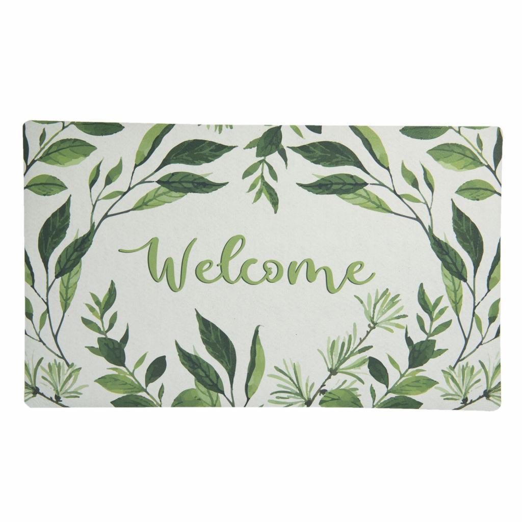 Produktové foto Clayre & Eef Podlahová rohožka s lístečky Welcome - 74*44*1 cm