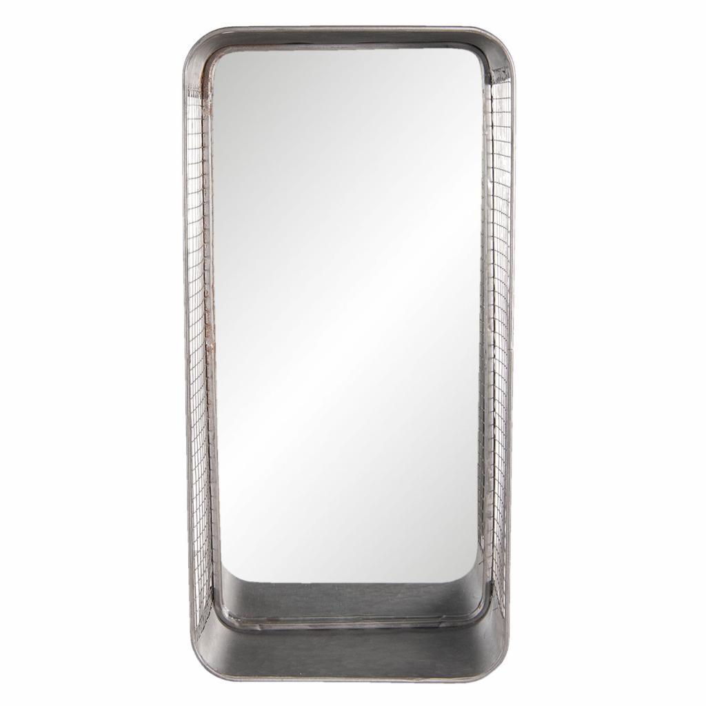Produktové foto Clayre & Eef Zrcadlo s drátěným rámem a policí Odalis - 28*15*57 cm