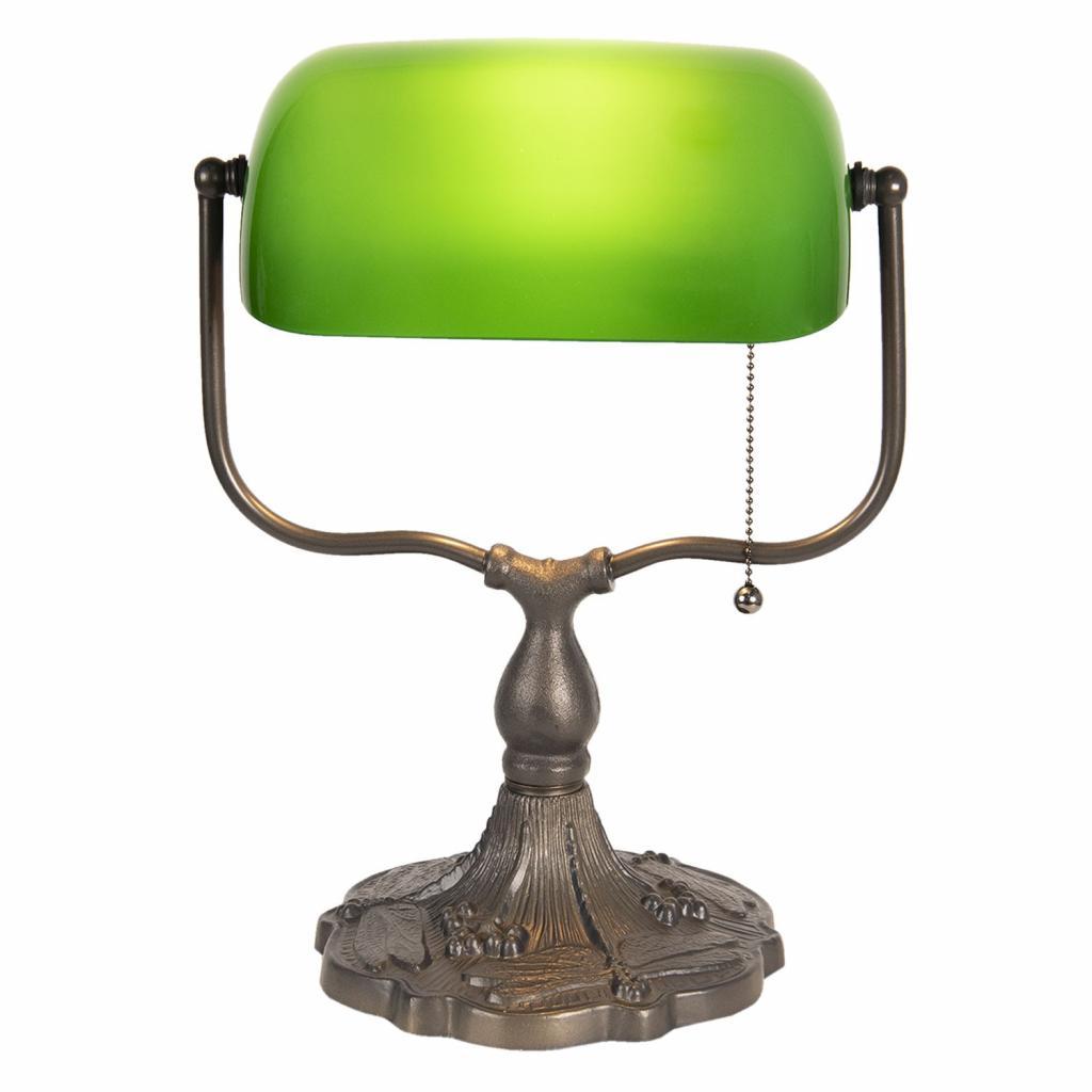 Produktové foto Clayre & Eef Zelená bankovní lampa tiffany Velves - 27*20*36 cm 1x E27 / max 60w
