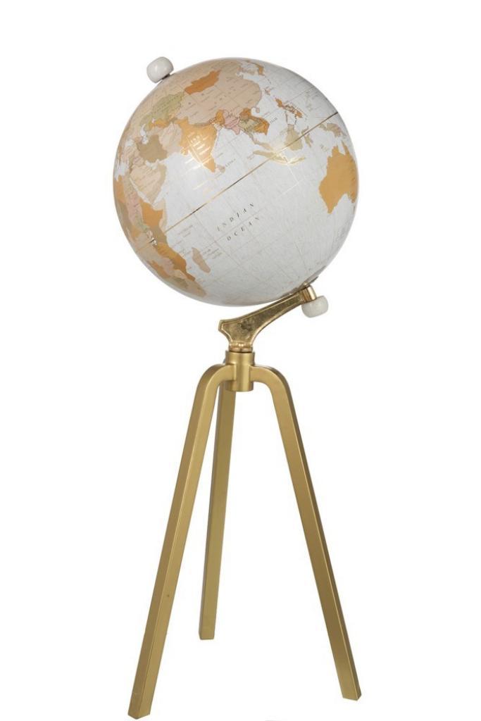 Produktové foto J-Line by Jolipa Glóbus na kovové zlaté trojnožce Marble - ∅40*103cm