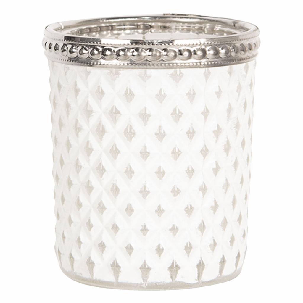 Produktové foto Clayre & Eef Bílý skleněný svícen na čajovou svíčku s kovovým zdobením - Ø  6*7 cm