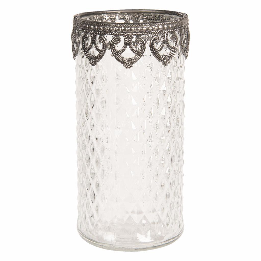 Produktové foto Clayre & Eef Skleněný transparentní svícen na čajovou svíčku s kovovým zdobením - Ø 8*16 cm