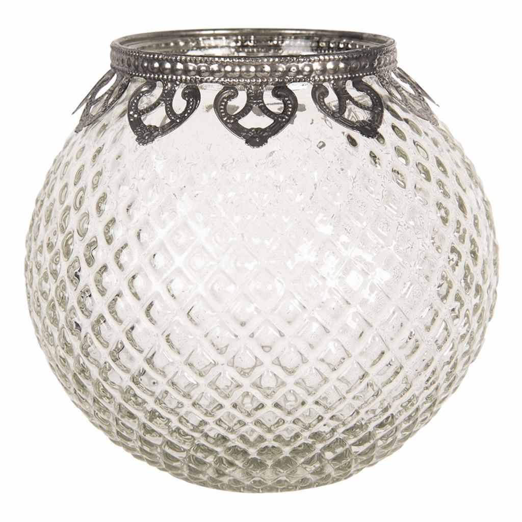 Produktové foto Clayre & Eef Skleněný transparentní svícen na čajovou svíčku s kovovým zdobením  - Ø 14*13 cm
