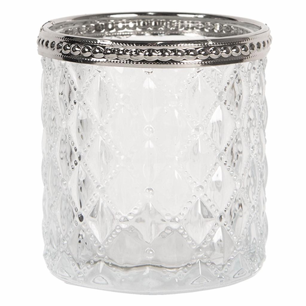 Produktové foto Clayre & Eef Skleněný transparentní svícen na čajovou svíčku s kovovým zdobením - Ø  7*7 cm