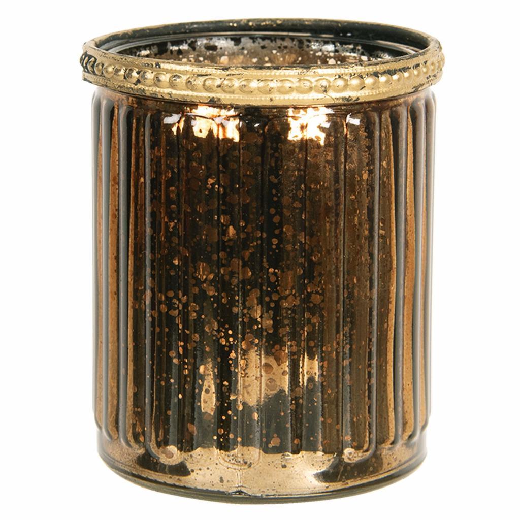 Produktové foto Clayre & Eef Zlato hnědý skleněný svícen s kovovým zdobením - Ø  8*9 cm