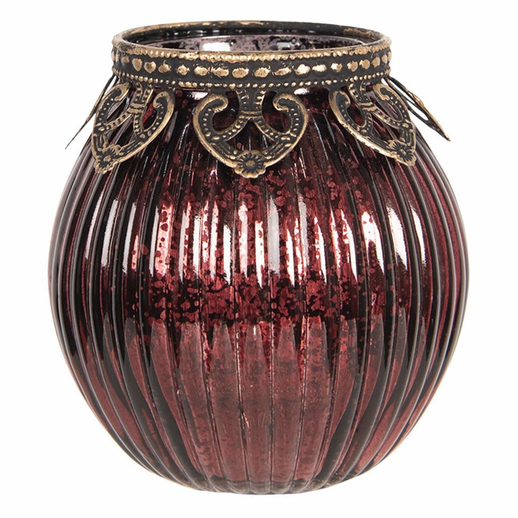 Produktové foto Clayre & Eef Červený skleněný svícen na čajovou svíčku s kovovým zdobením - Ø  9*9 cm