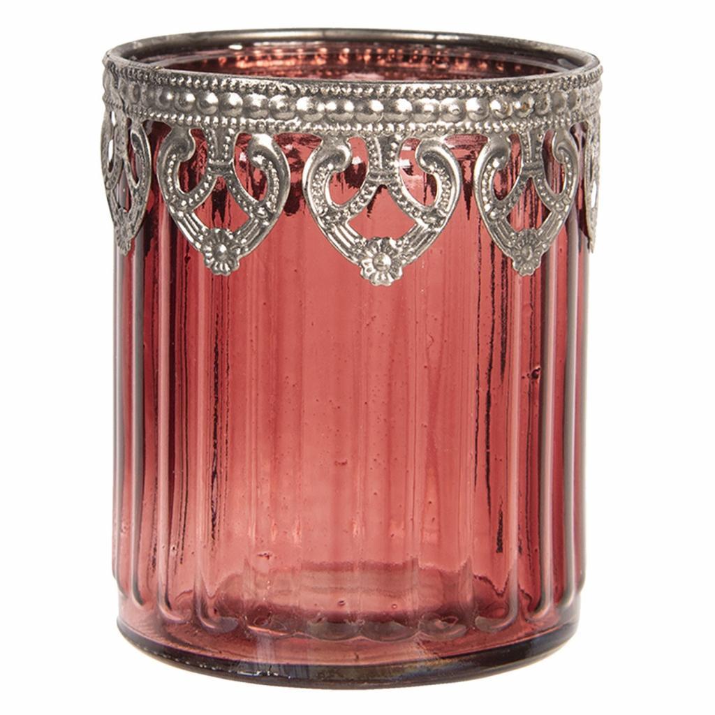 Produktové foto Clayre & Eef Červený skleněný svícen na čajovou svíčku s kovovým zdobením Ø8*9 cm