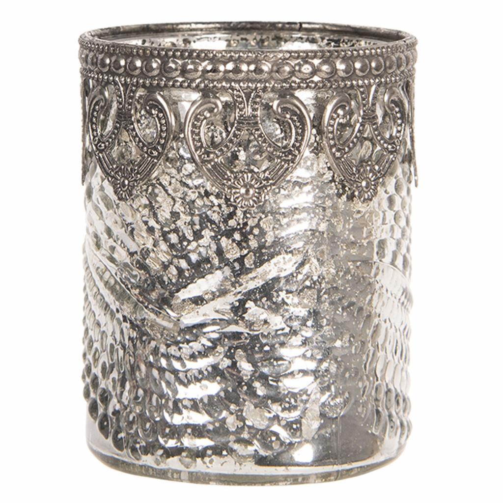 Produktové foto Clayre & Eef Skleněný stříbrný svícen na čajovou svíčku s kovovým zdobením - Ø  7*8 cm