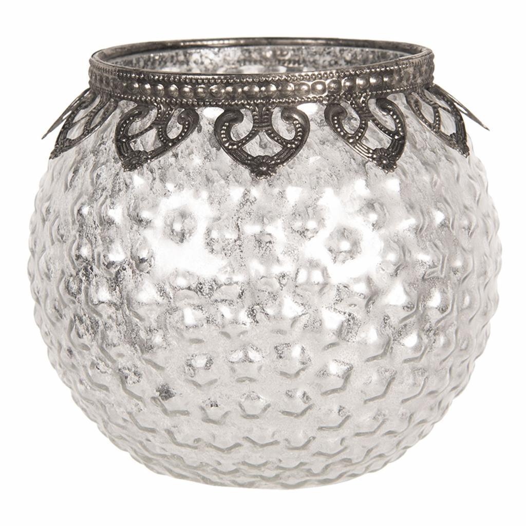 Produktové foto Clayre & Eef Skleněný stříbrný svícen na čajovou svíčku s kovovým zdobením Ø 13*12 cm