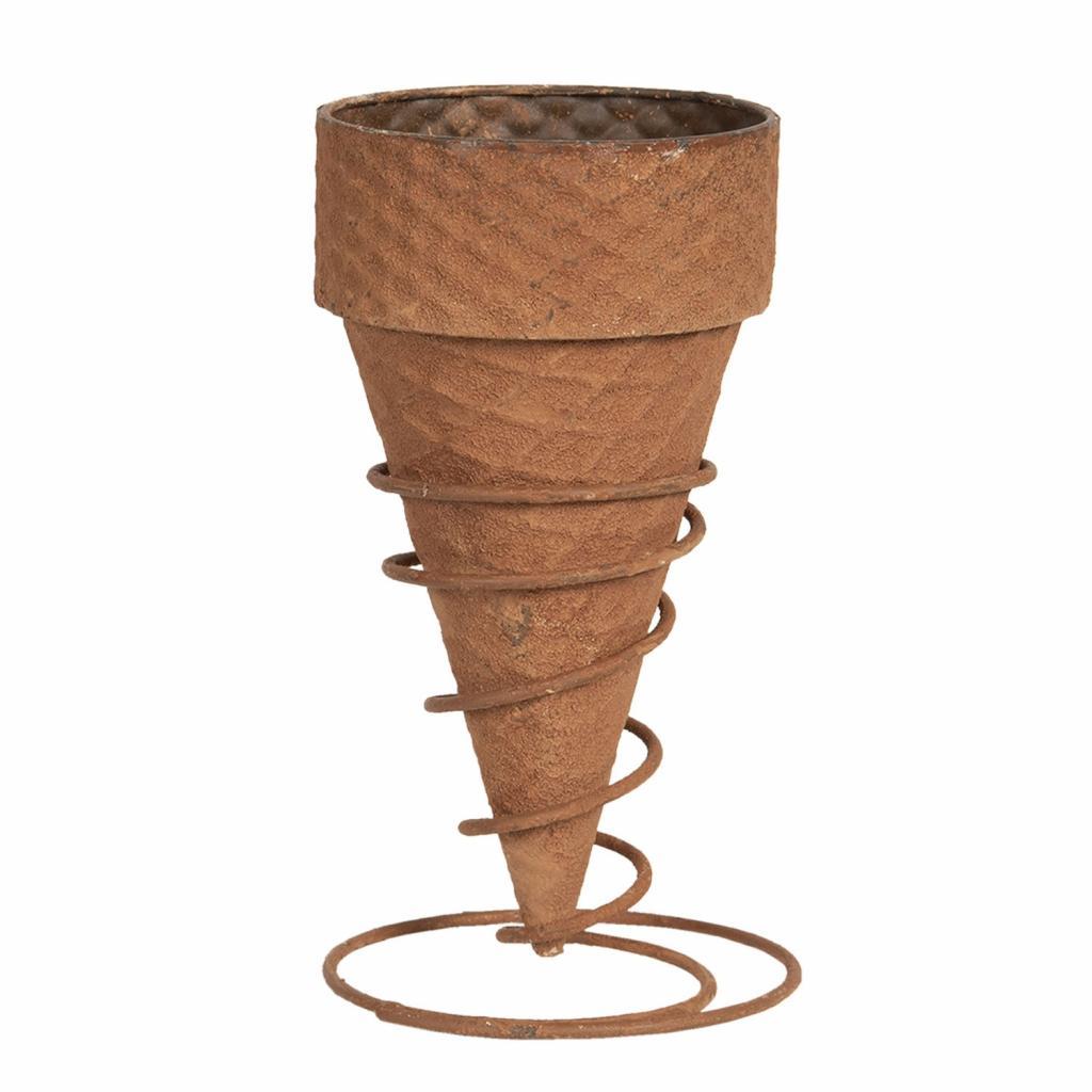 Produktové foto Clayre & Eef Rezavý květináč zmrzlinový kornout - Ø 12*24 cm