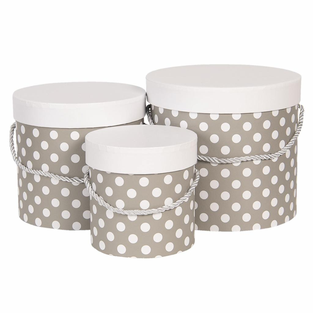 Produktové foto Clayre & Eef Sada 3ks šedých papírových krabic s puntíky - Ø 19*17 cm /Ø 16*15 cm /Ø 12*12 cm