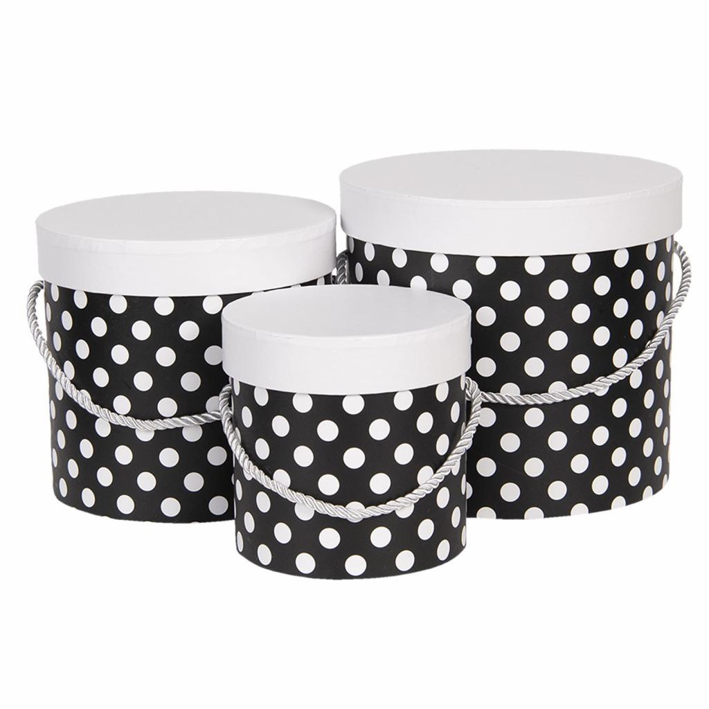 Produktové foto Clayre & Eef Sada 3ks černých papírových krabic s puntíky - Ø 19*17 cm /Ø 16*15 cm /Ø 12*12 cm