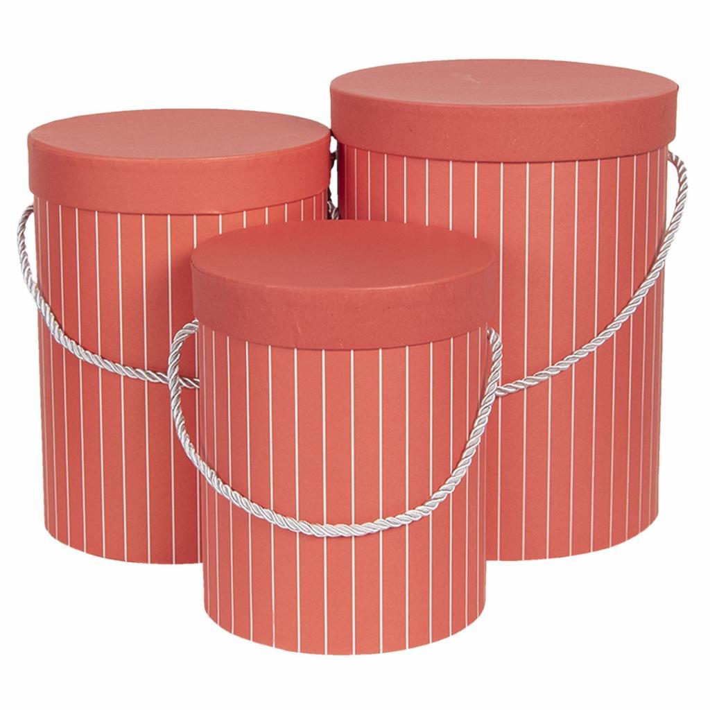 Produktové foto Clayre & Eef Sada 3ks červených papírových krabic s pruhy - Ø17*14 cm /Ø15*23 cm /Ø18*24 cm