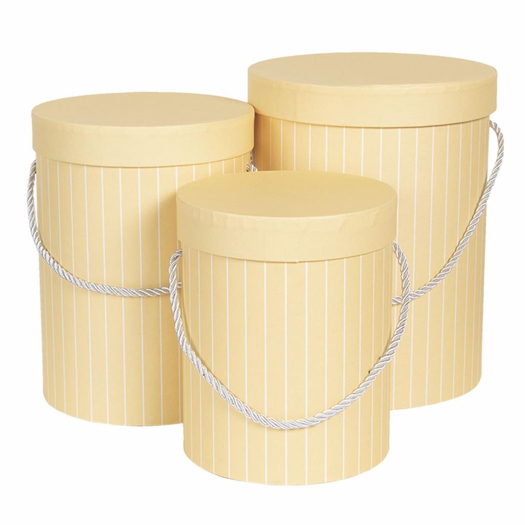 Produktové foto Clayre & Eef Sada 3ks žlutých papírových krabic s pruhy - Ø17*14 cm /Ø15*23 cm /Ø18*24 cm