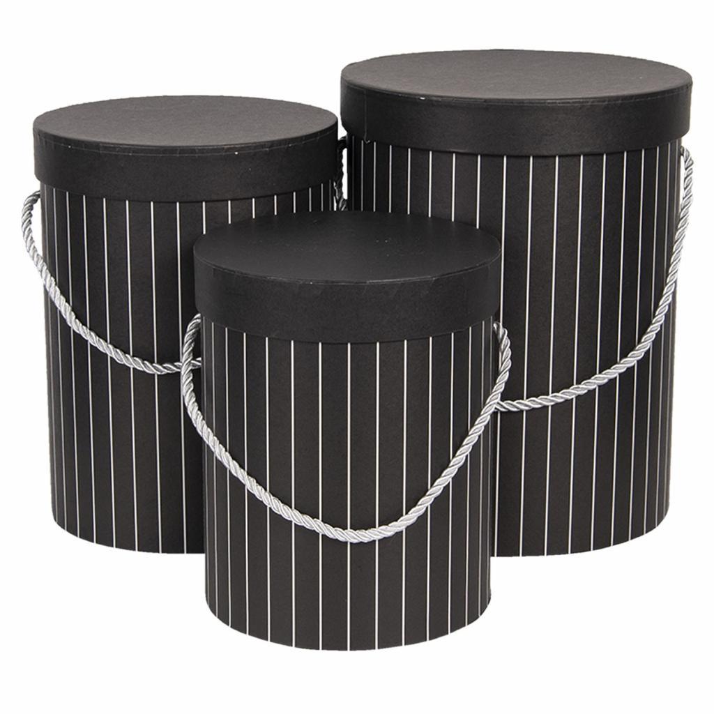 Produktové foto Clayre & Eef Sada 3ks černých papírových krabic s pruhy - Ø 17*14 cm /Ø 15*23 cm /Ø 18*24 cm
