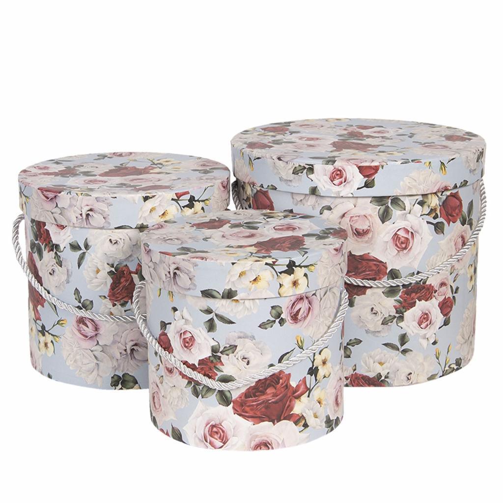 Produktové foto Clayre & Eef Sada 3ks papírových krabic s růžemi - Ø16*15 cm / Ø19*17 cm / Ø23*19  cm