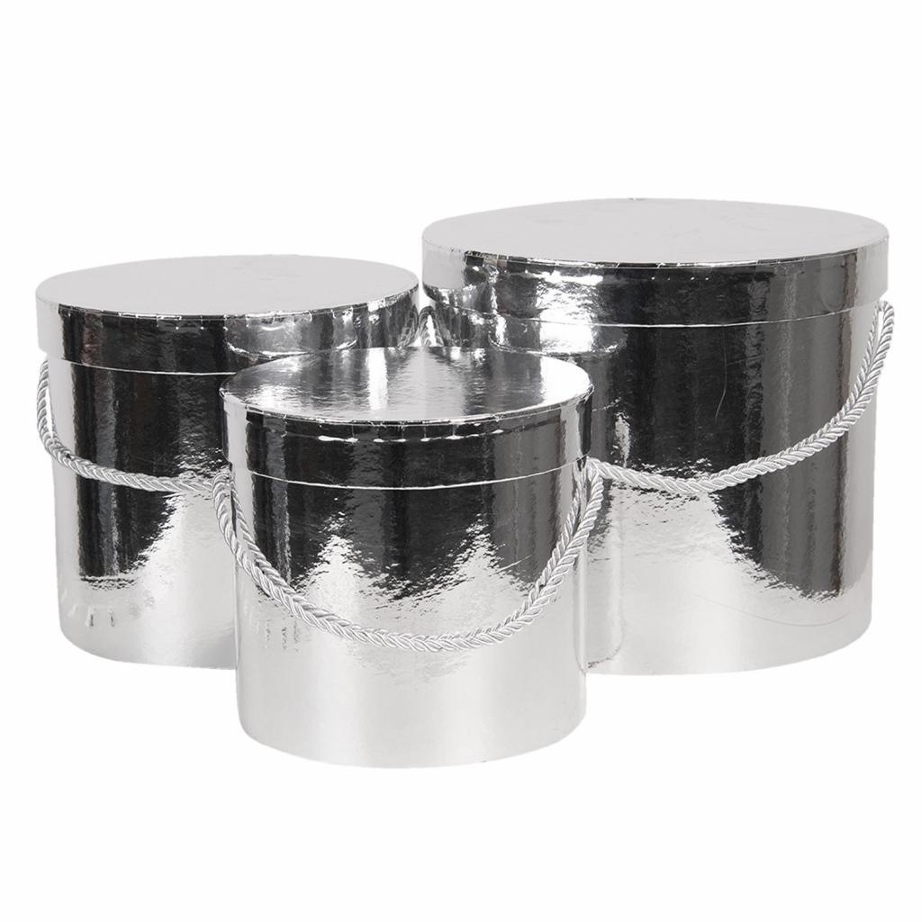 Produktové foto Clayre & Eef Sada 3ks stříbrných papírových krabic - Ø 16*15 cm /Ø 19*17 cm /Ø 23*19  cm
