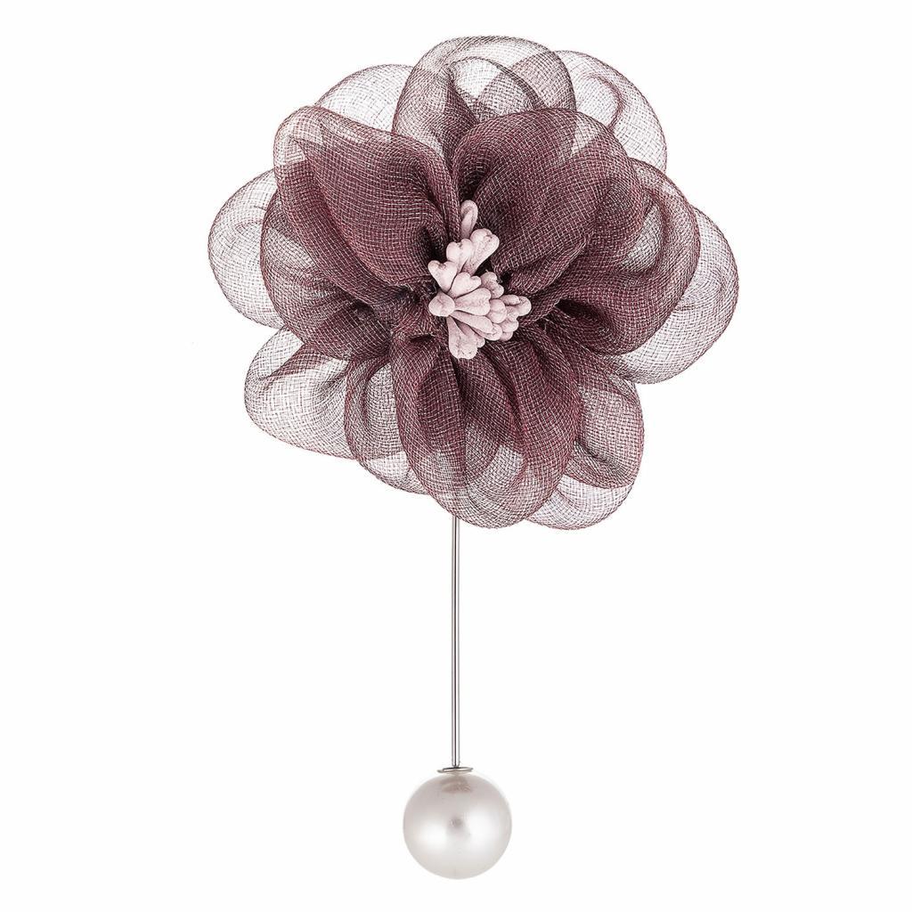 Produktové foto Clayre & Eef Brož na oblečení bordó květ