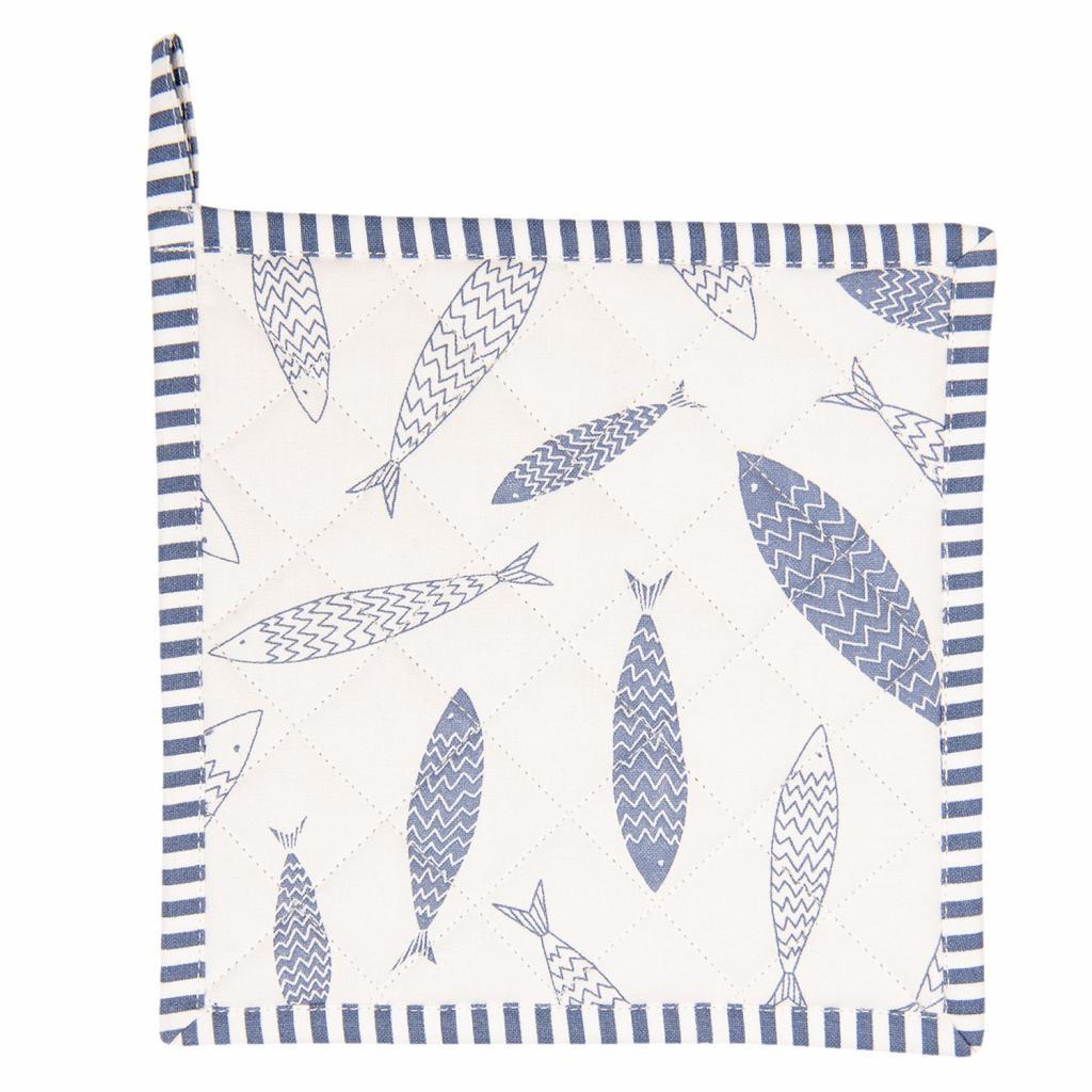 Produktové foto Clayre & Eef Bavlněná podložka pod hrnce Nautical Fish - 20*20 cm