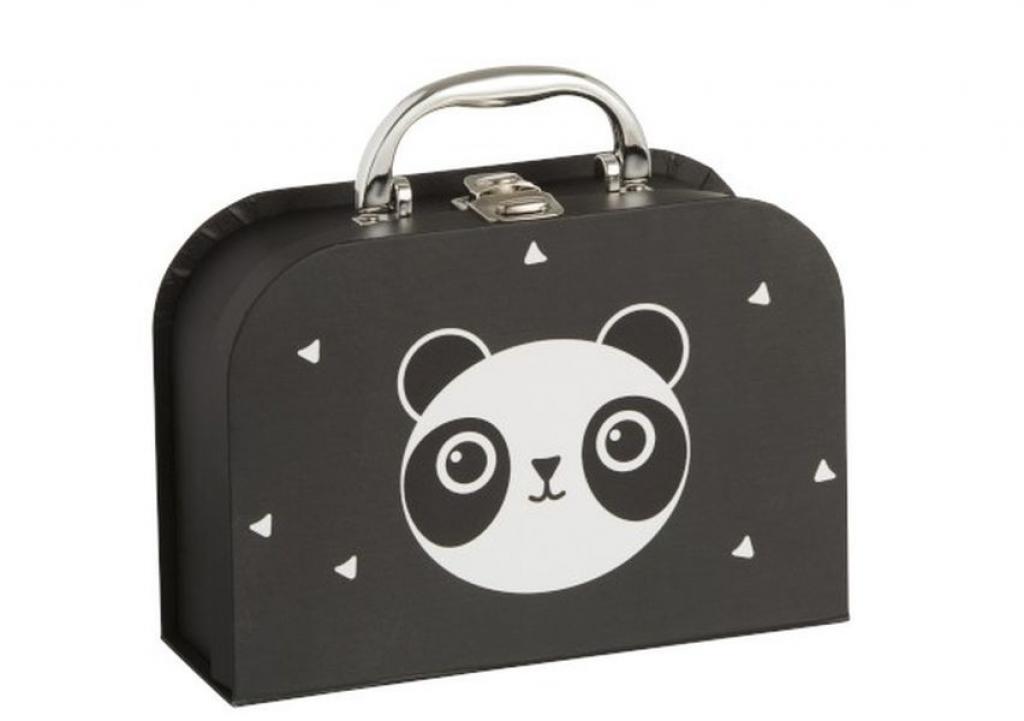 Produktové foto J-Line by Jolipa Černý papírový kufřík se zásuvkami Panda  - 20*14*7cm