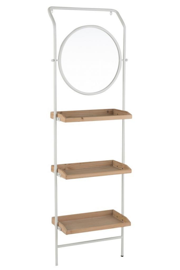 Produktové foto J-Line by Jolipa Nástěnné zrcadlo v kovovém rámu s dřevěnými policemi Pascaline - 61*37,5*191 cm