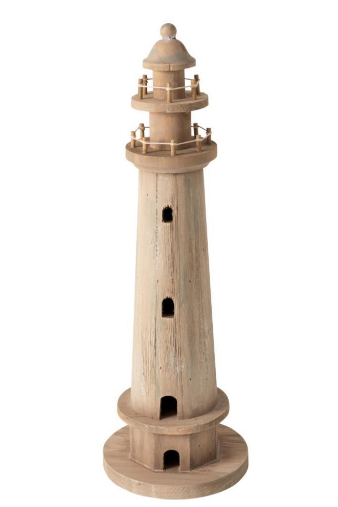 Produktové foto J-Line by Jolipa Dekorace přírodní dřevěný maják  - Ø 17*51 cm