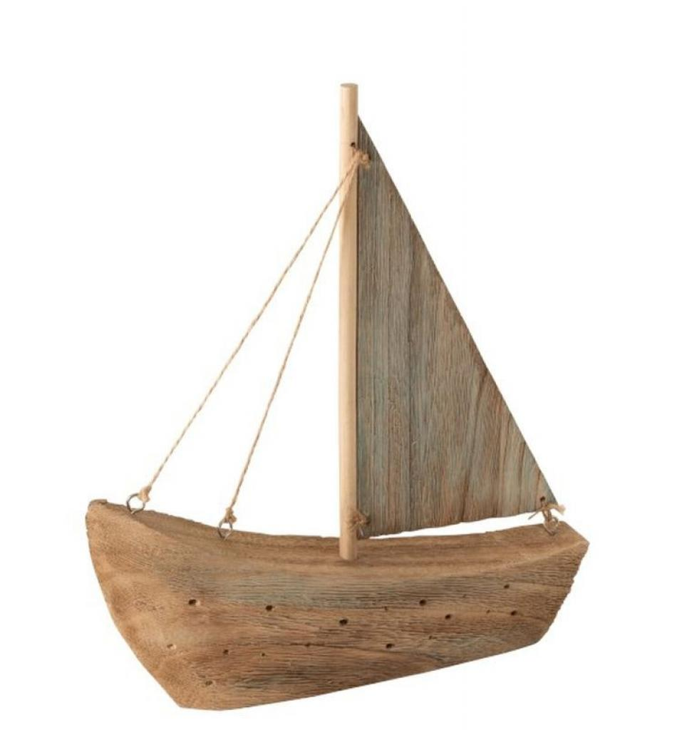 Produktové foto J-Line by Jolipa Dekorace přírodní dřevěná loďka - 23*5,5*27 cm