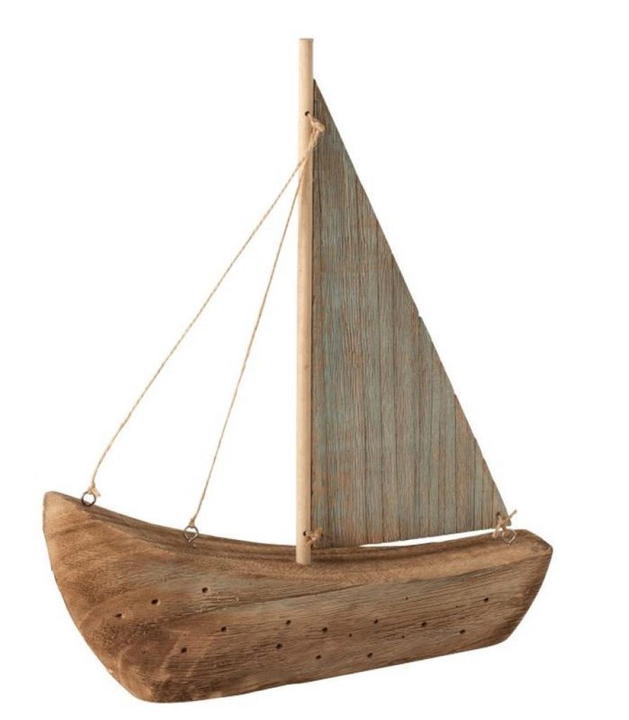 Produktové foto J-Line by Jolipa Dekorace přírodní dřevěná loďka - 28*6*35 cm