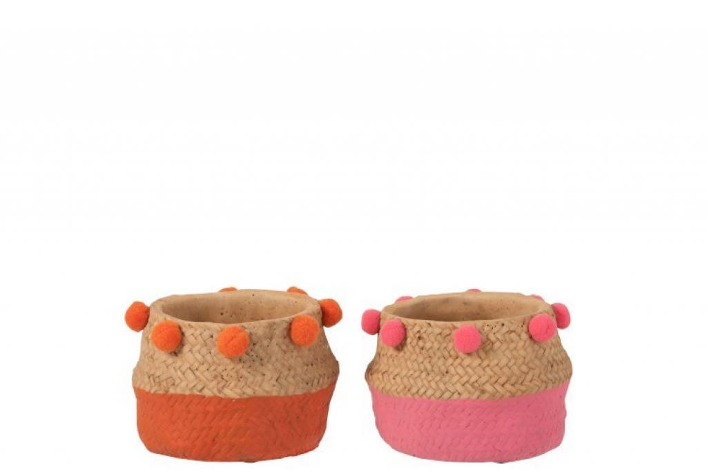 Produktové foto J-Line by Jolipa Cementový květináč Pompom  2ks oranžová,růžová  S- 14*14*10,5 cm