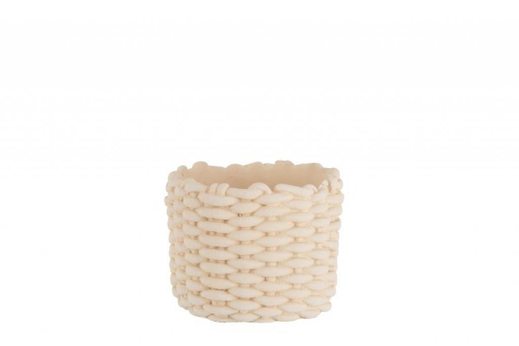 Produktové foto J-Line by Jolipa Béžový cementový květináč imitace lana M -  Ø  21*17,5 cm