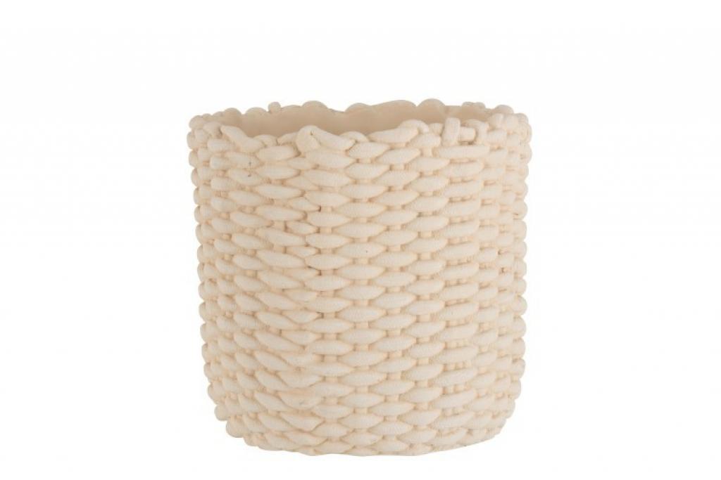 Produktové foto J-Line by Jolipa Béžový cementový květináč imitace lana L - 30,5*30*28,5 cm