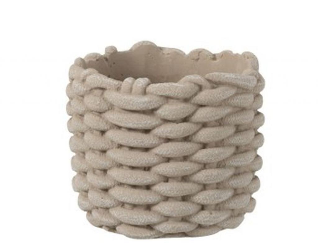 Produktové foto J-Line by Jolipa Šedý cementový obal na květináč ve tvaru košíku - Ø 16,5*14,5 cm