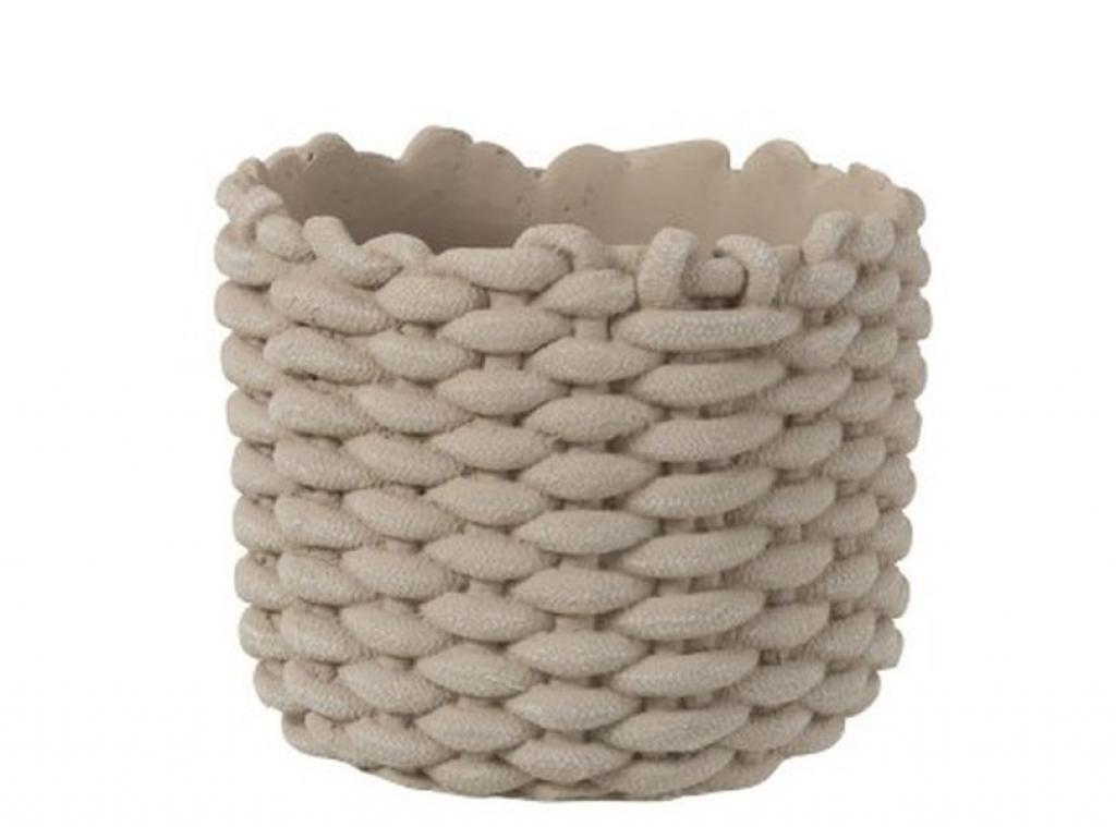 Produktové foto J-Line by Jolipa Šedý cementový obal na květináč ve tvaru košíku - Ø 20,5*17,5 cm