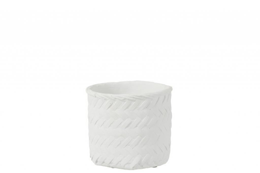 Produktové foto J-Line by Jolipa Bílý cementový květináč  -imitace tkaného květináče  L - Ø  20*17,5 cm
