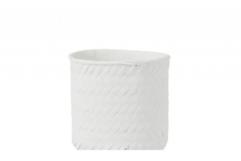 Produktové foto J-Line by Jolipa Bílý cementový květináč  -imitace tkaného květináče  XL - Ø  25*23 cm