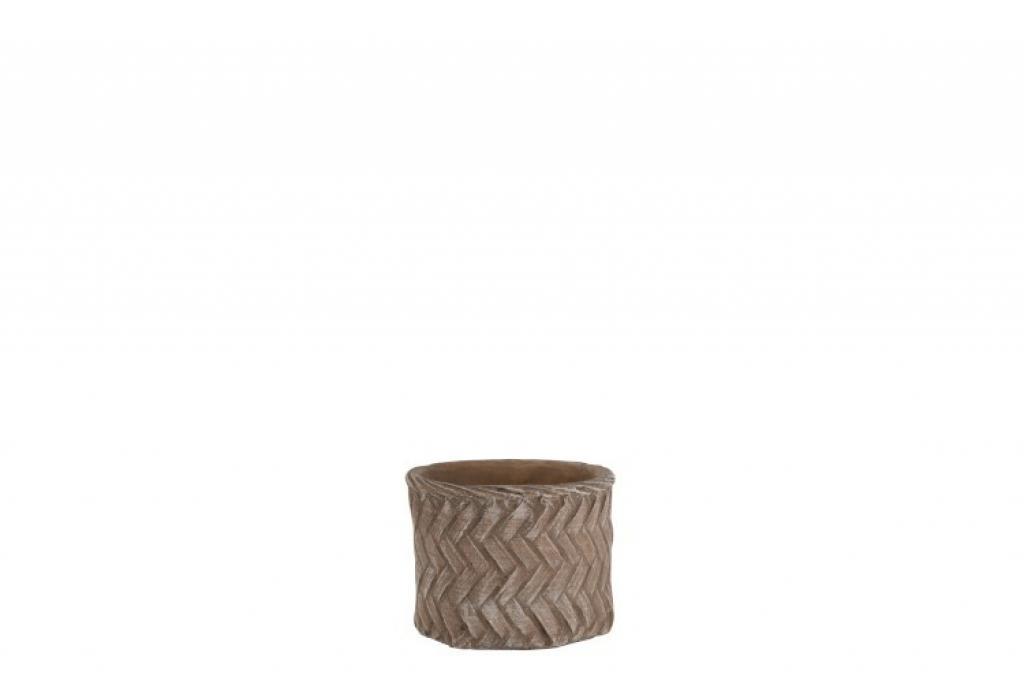 Produktové foto J-Line by Jolipa Hnědý cementový květináč Taupe -imitace tkaného květináče  S - Ø 14*12 cm