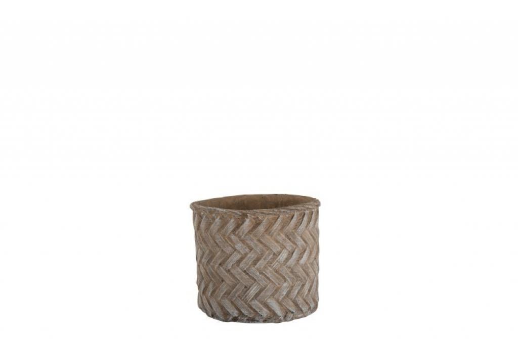 Produktové foto J-Line by Jolipa Hnědý cementový květináč Taupe -imitace tkaného květináče  M - Ø 16,5*15 cm