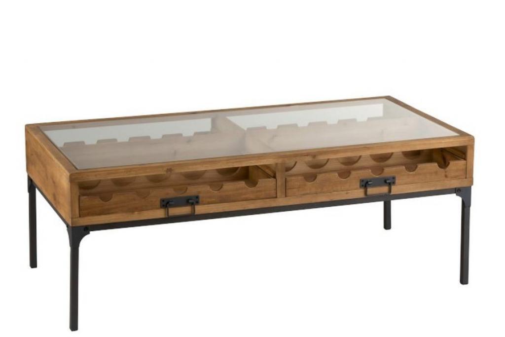 Produktové foto J-Line by Jolipa Konferenční dřevěný stůl na láhve vína Vine - 120*60*45 cm