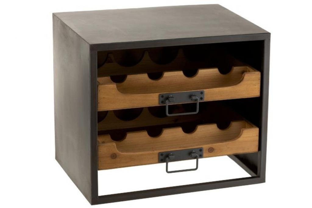 Produktové foto J-Line by Jolipa Černá kovová skříňka s dřevěnými šuplíky na láhve vína Vine - 43,5*35*38 cm