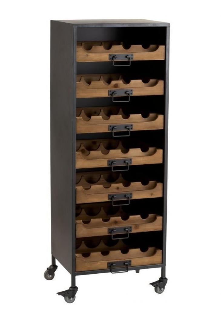 Produktové foto J-Line by Jolipa Černá kovová skříň s dřevěnými šuplíky na láhve vína Vine - 43,5*35*120 cm