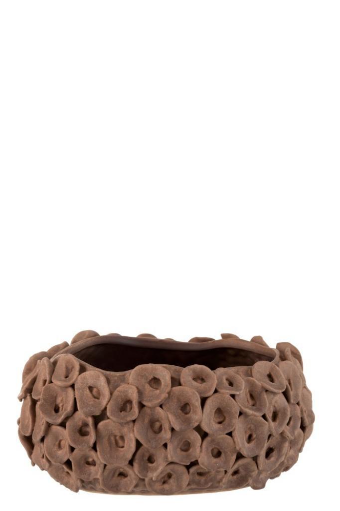 Produktové foto J-Line by Jolipa Hnědý keramický květináč Coral- Ø  27*21*13 cm