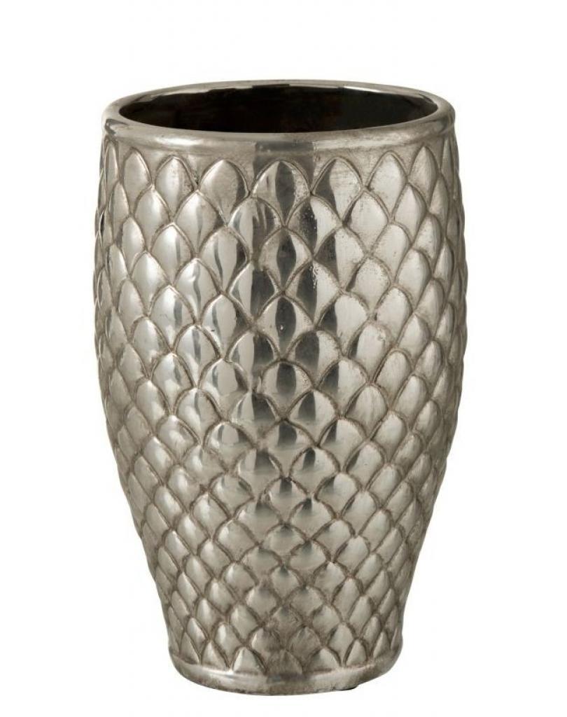 Produktové foto J-Line by Jolipa Stříbrná kovová váza Checkered small - Ø19,5*30 cm
