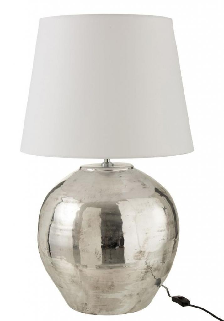 Produktové foto J-Line by Jolipa Stříbrná lampa s bílým stínidlem Arya - Ø 37*73 cm