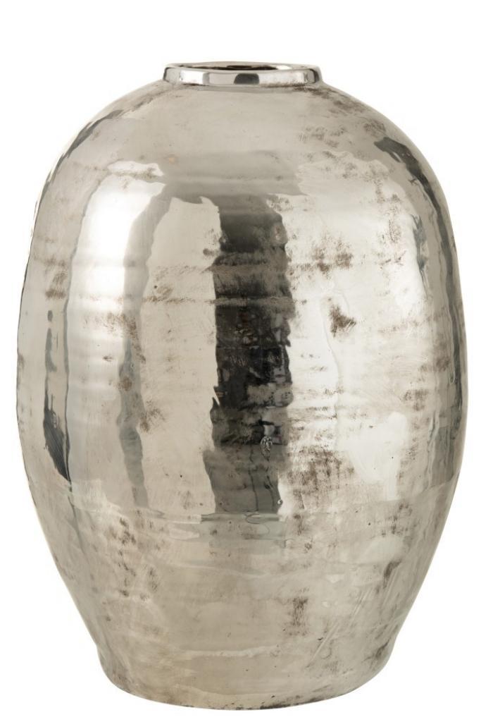 Produktové foto J-Line by Jolipa Veliká stříbrná kovová váza  Arya - Ø 39*57 cm