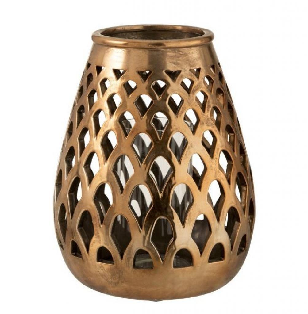 Produktové foto J-Line by Jolipa Měděný kovový svícen Checkered copper - Ø 27*33,5 cm