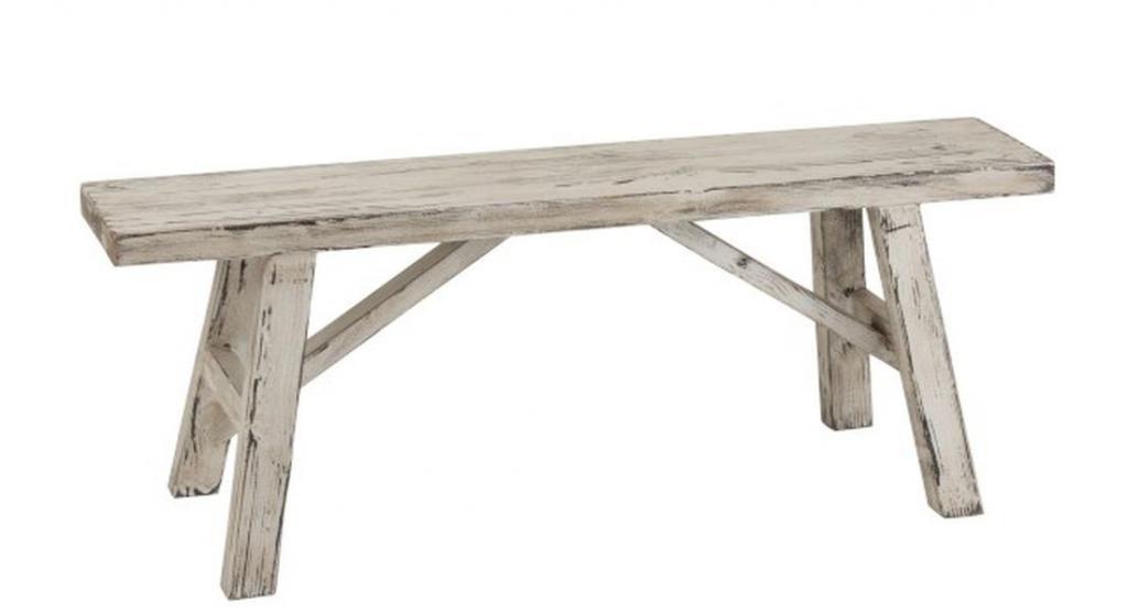 Produktové foto J-Line by Jolipa Bílá dřevěná patinovaná lavice Ibiza - 120*39*45 cm