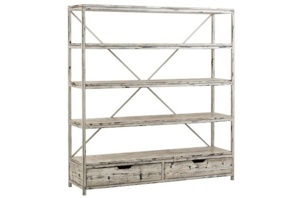 Produktové foto J-Line by Jolipa Bílý kovový patinovaný regál s dřevěnými policemi Ibiza - 180*45*191 cm