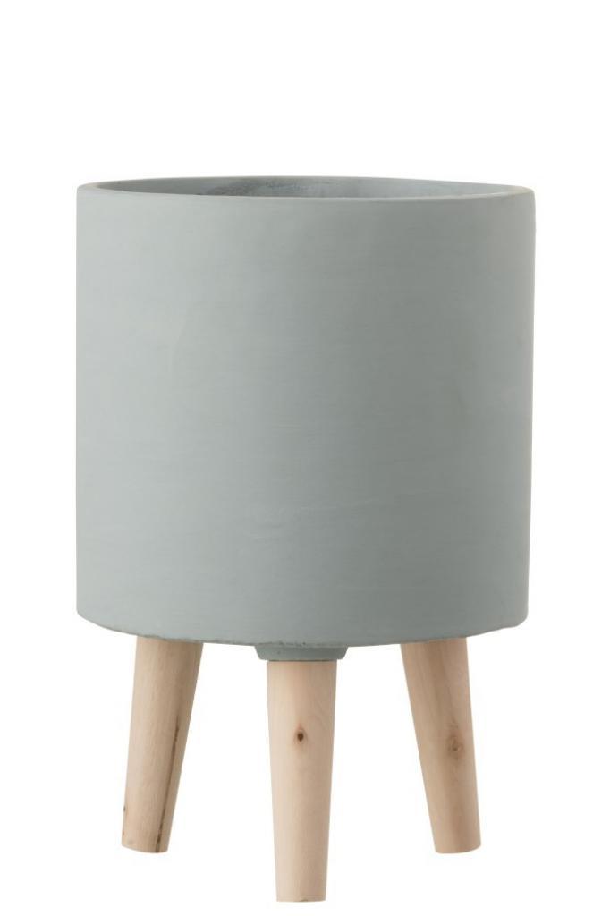 Produktové foto J-Line by Jolipa Cementový květináč na dřevěných nožkách - Ø19,5*30 cm